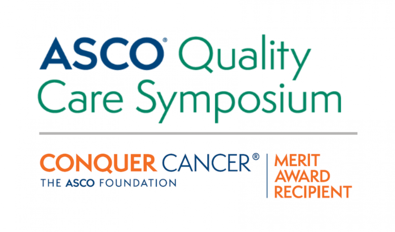 ASCO Quality Care Symposium logo on top, colored turquoise green, and Conquer Cancer's Merit Award Recipient logo on bottom, colored orange and ASCO branded blue