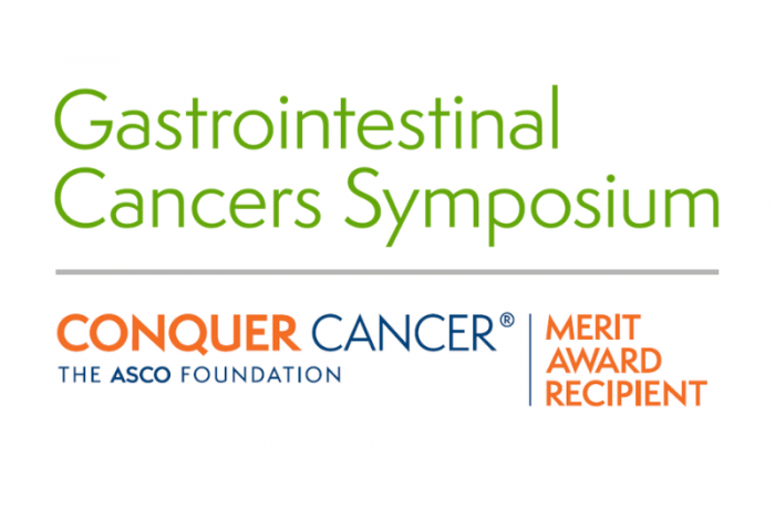 Gastrointestional Cancers Symposium (shaded olive green) on top of the Conquer Cancer logo, adjacent to 'Merit Award Recipient'