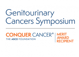 Genitourinary Cancers Symposium (shaded dark blue) on top of the Conquer Cancer logo, adjacent to 'Merit Award Recipient'