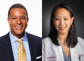 Duo image, with Craig Melvin's headshot on the left and Dr. Kimmie Ng's headshot on the right. Melvin is facing forward and smiling with teeth showing, wearing a yellow tie, light blue shirt, and black jacket. Dr. Ng is facing forward and smiling with teeth showing, wearing a white coat and large hoop earrings.