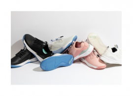 4 pairs of Clove shoes. From left to right: black, light blue, light pink, cream white.