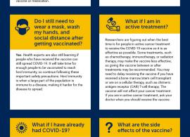 COVID-19 infographic containing information from Cancer.Net about the COVID-19 vaccine.