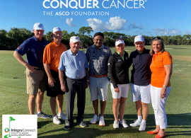 (Left to right): Ernie Els; Skip Burris, MD, FACP, FASCO;Jack Nicklaus; Raj Mantena, RPh; Annika Sörenstam;Clifford Hudis, MD, FACP, FASCO;Nancy Daly, MS, MPH, at the 2021 Integra Golf Classic.