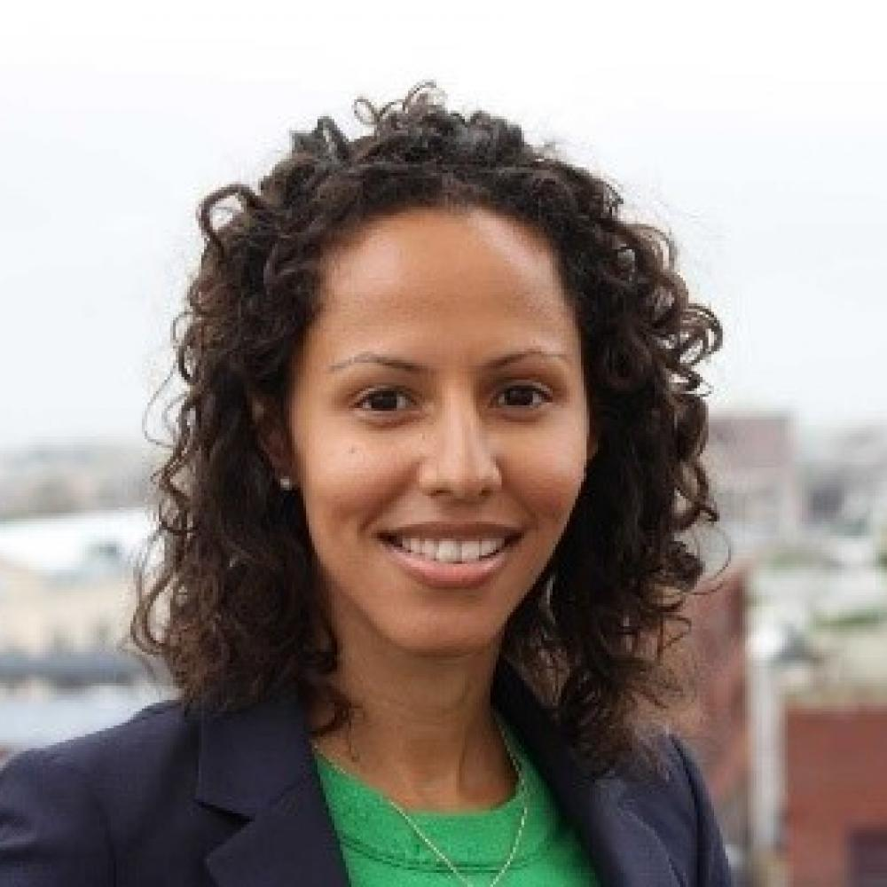 Headshot of Dr. Handy Marshall smiling. City skyline in background. Wearing light green blouse with navy blue blazer. Brown, curly hair.