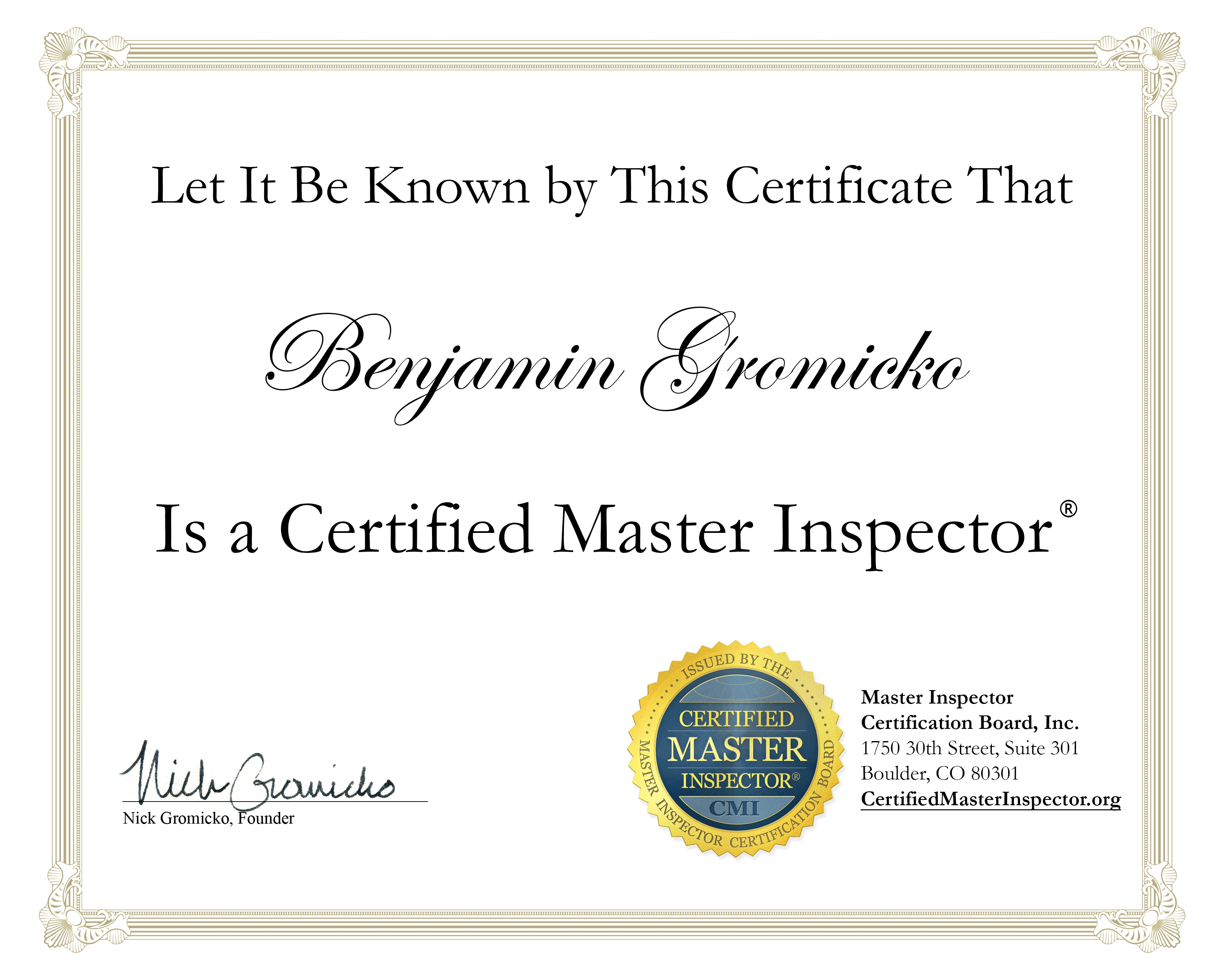 How To Download Your Certified Master Inspector Certificate
