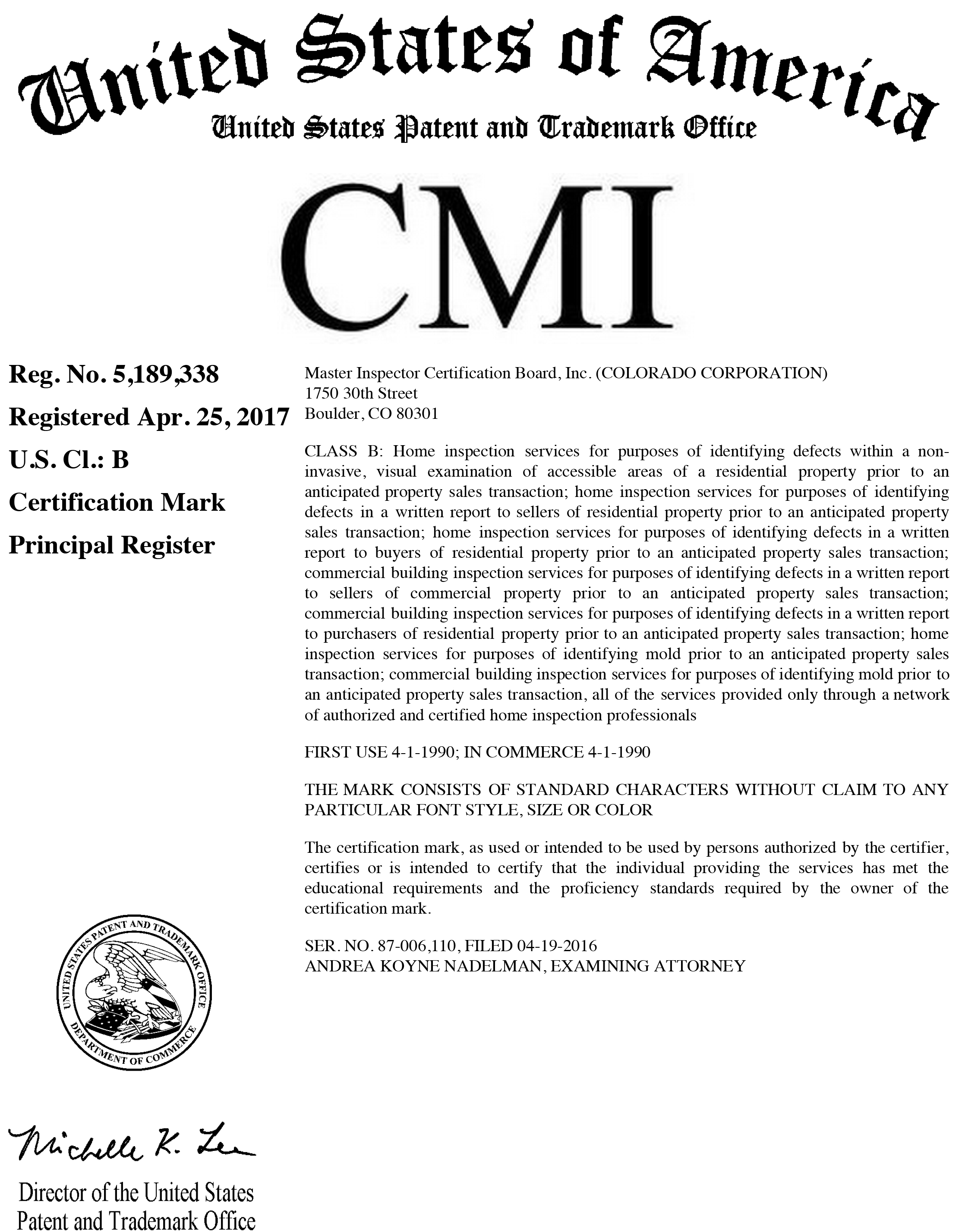 Cmi Is A Registered Federal Certification Mark On The Principal