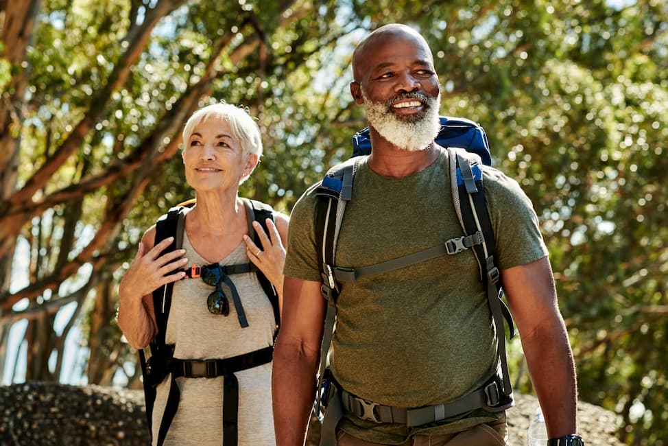 an older couple out on a hike
