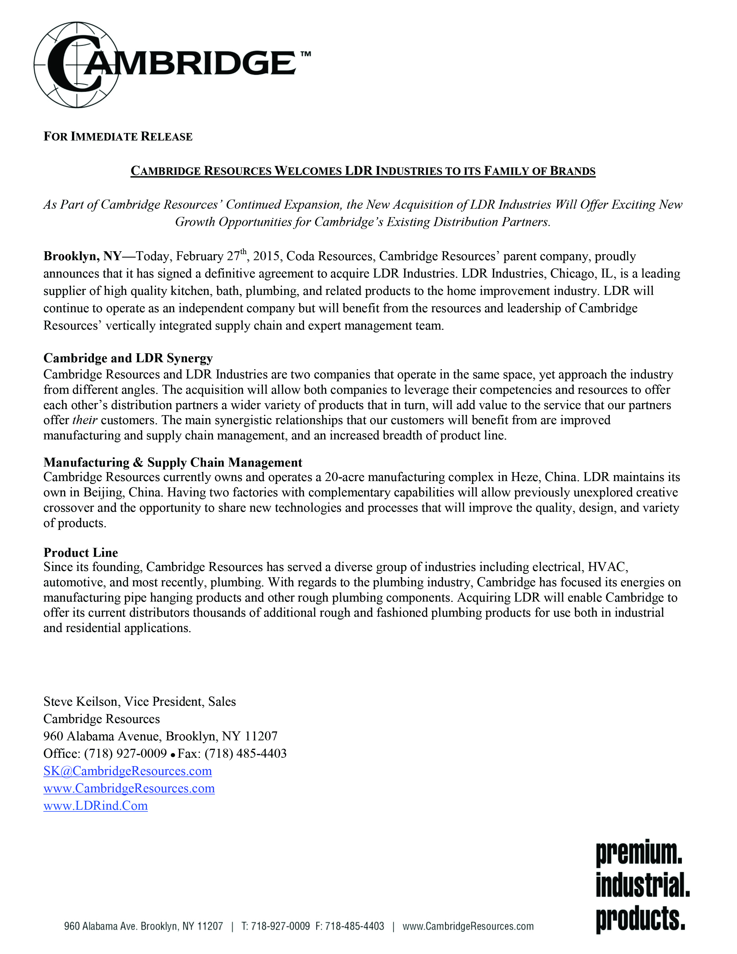 LDR Cambridge Press Release