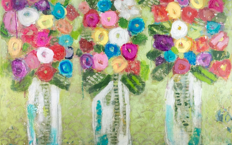 """Flowers on Green"" by Christy Kinard 30""x40"" oil, mixed media on panel"