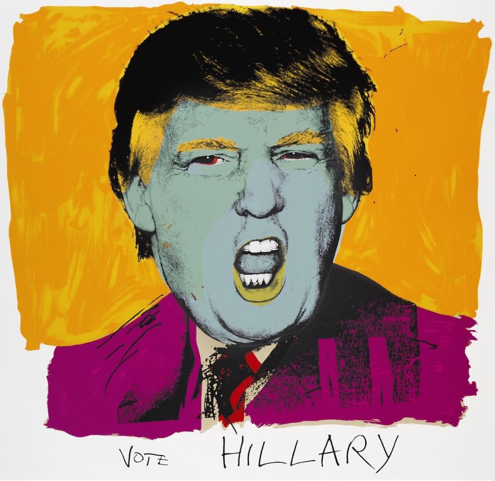 "Deborah Kass, ""Vote Hillary"" (2016), silkscreen on Stonehenge 320 gram paper, 42 × 42 inches (courtesy Artist Rights Society/ ARS and Kavi Gupta Gallery)"