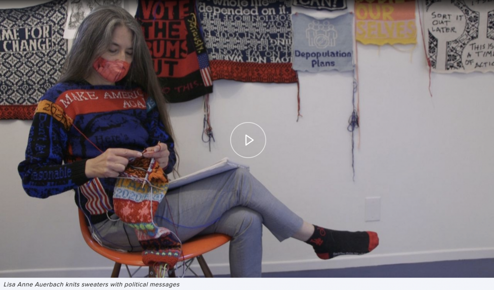 Artist Lisa Anne Auerbach Knits Sweaters with Political Messages