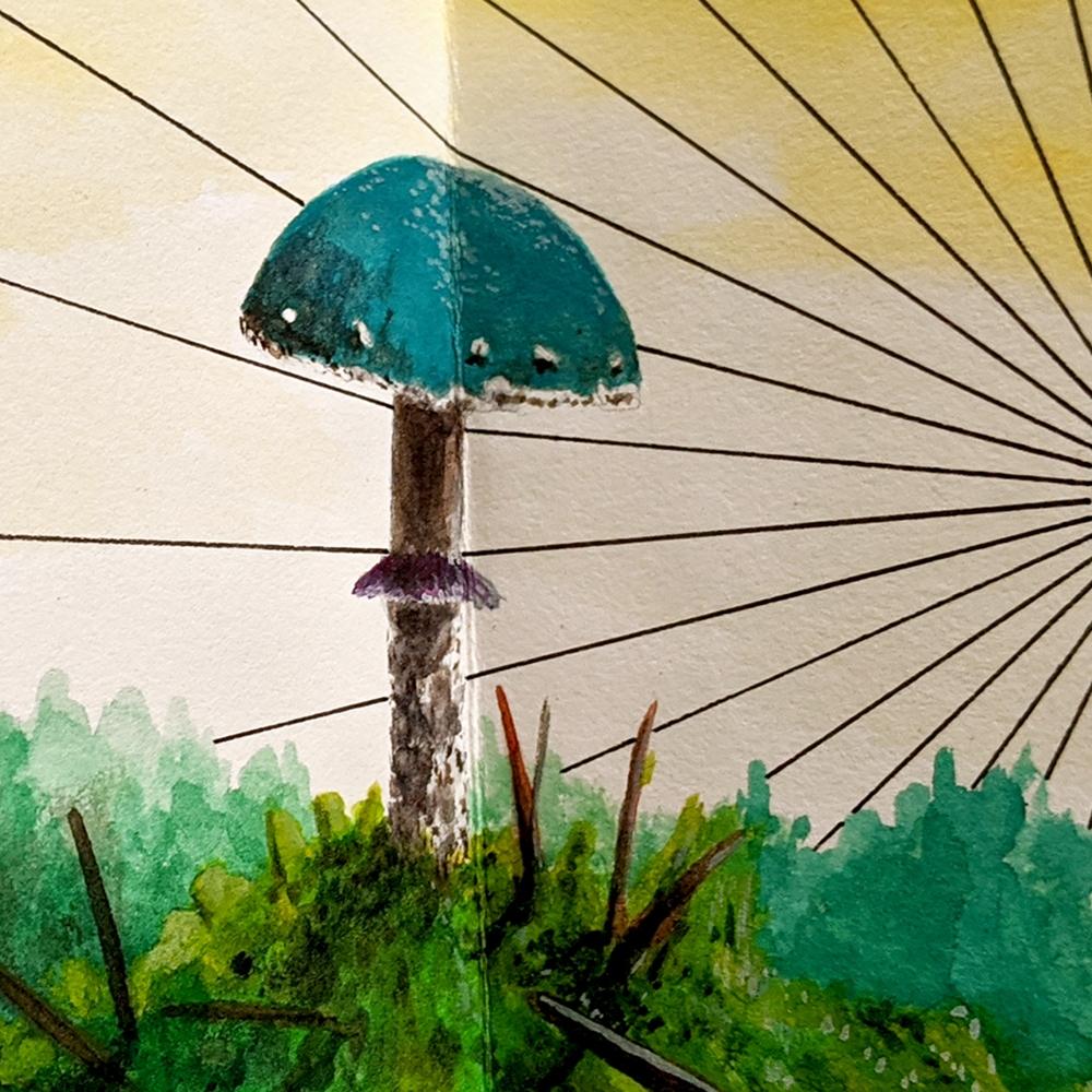 jon cowan artist book with mushroom