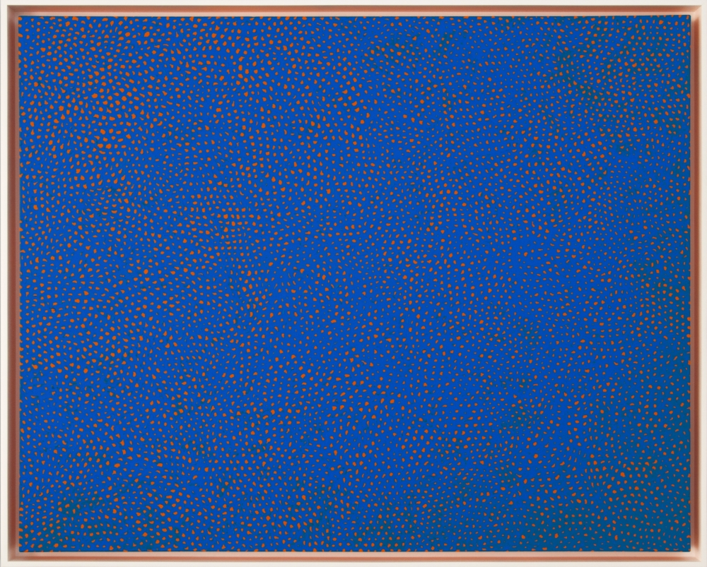 "Yayoi Kusama_Infinity-Nets RBKT, 2014 (51 1:8"" x 63 3:4"") Frame-Casterline|Goodman Gallery.jpg"