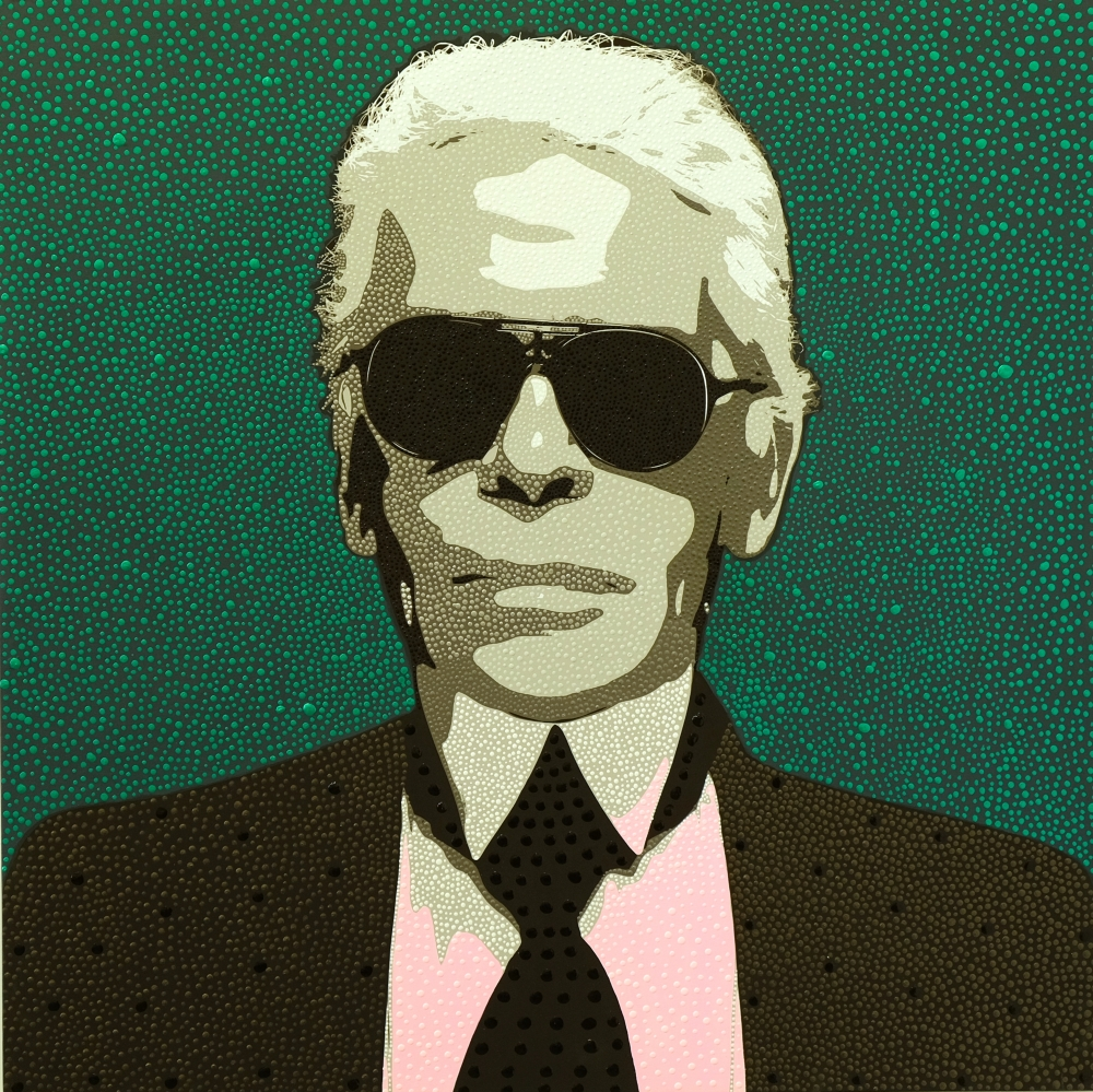 Pointillist Portrait of Karl Lagerfeld from Dot Pop by Philip Tsiaras at Hg Contemporary Art Gallery in Chelsea, founded by Philippe Hoerle-Guggenheim