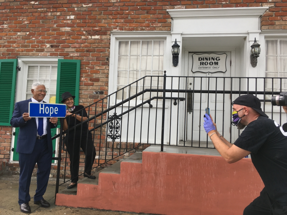 A street sign is spreading the message of 'Hope' throughout New Orleans