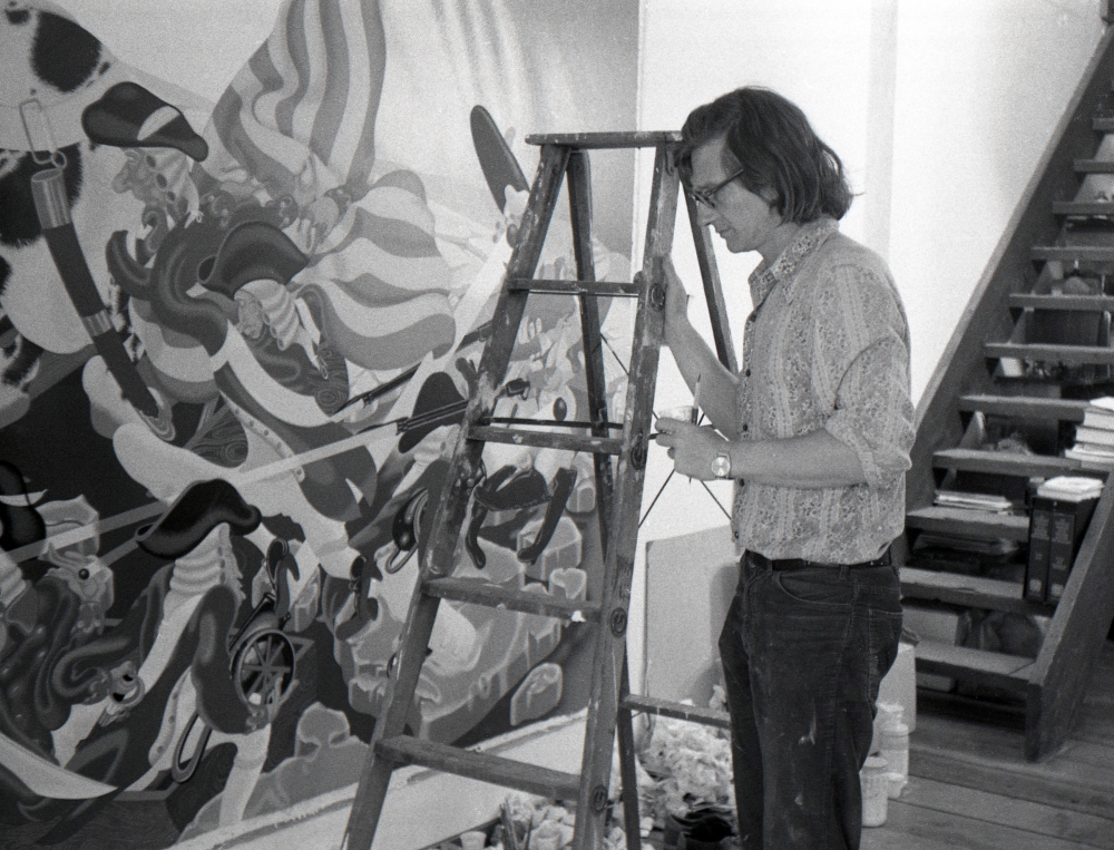 """Peter Saul working on """"Washington Crossing the Delaware,"""" 1975."""