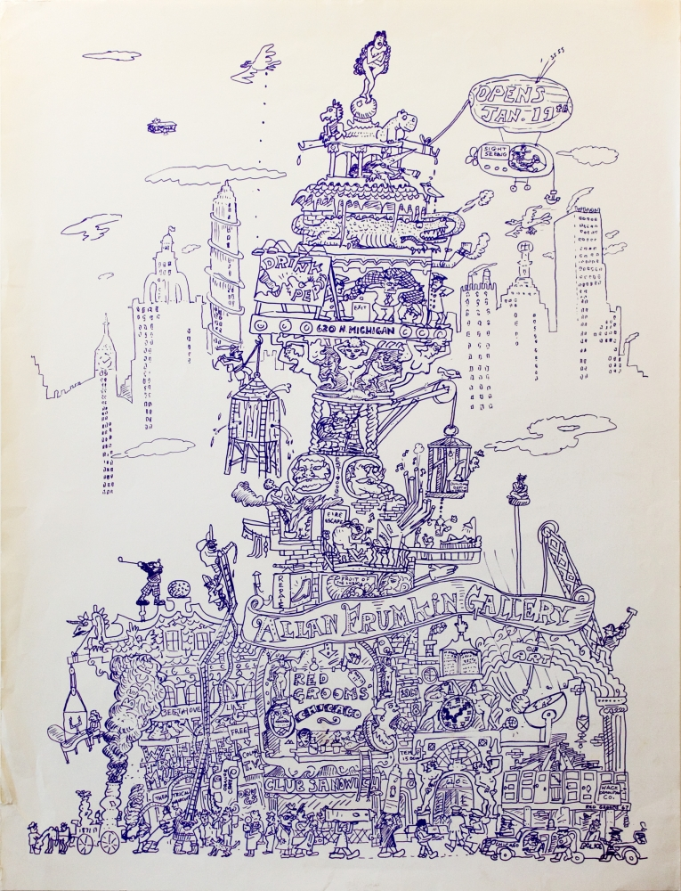 Poster for Red Grooms' 'The City of Chicago' at the Allan Frumkin Gallery, Chicago, 1968.