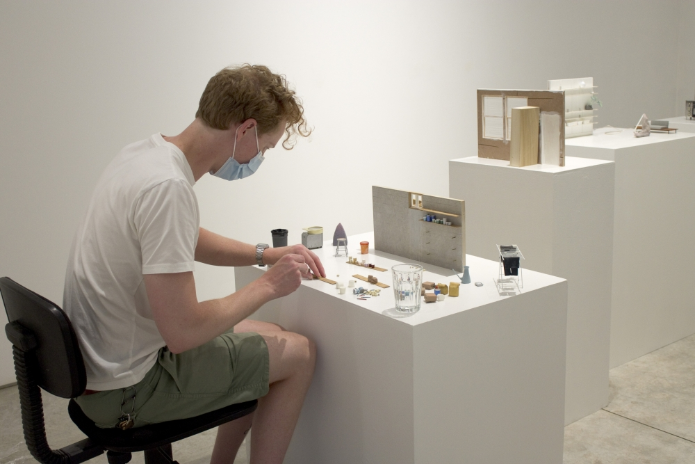 Kevin Frances working on his installation 'Superpositions'