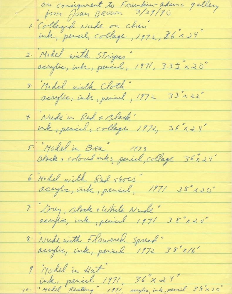 Handwritten checklist of drawings by Joan Brown