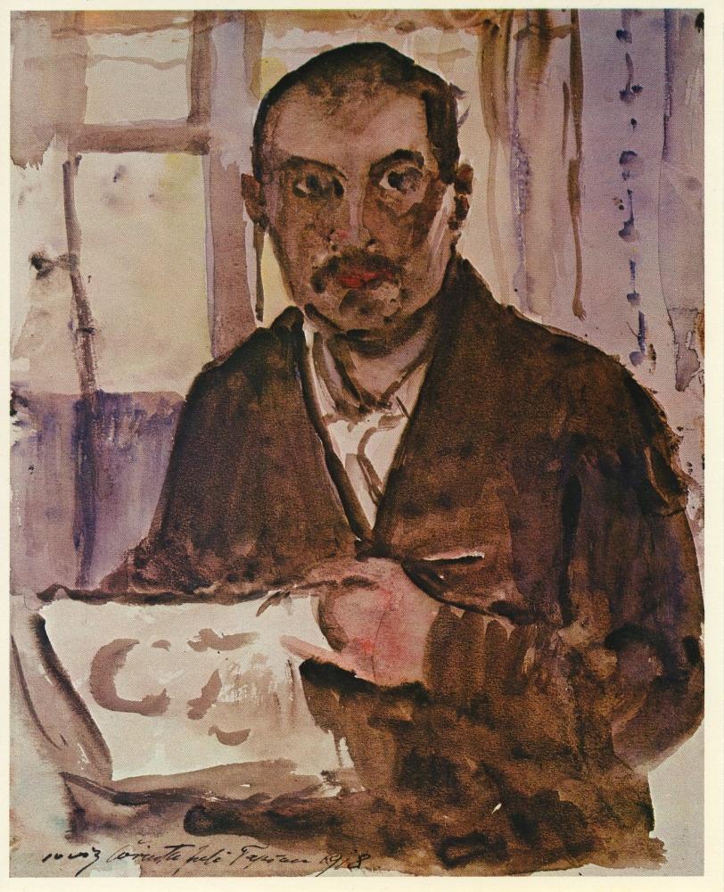Lovis Corinth, Self Portrait, 1918, watercolor on paper, 12 x 9 1/2 inches.