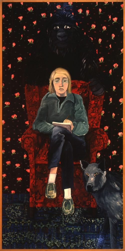 Joan Brown, 'Self-portrait with Gorilla and Wolf,' 1971.