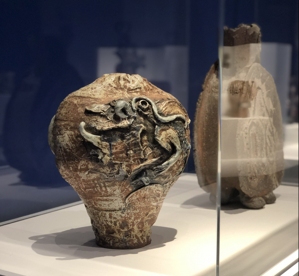 Installation view of Robert Arneson's Untitled c.1960 ceramic sculpture