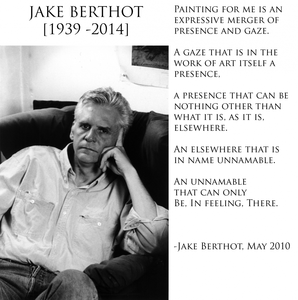 Betty Cuningham Gallery will be hosting a memorial service for Jake Berthot