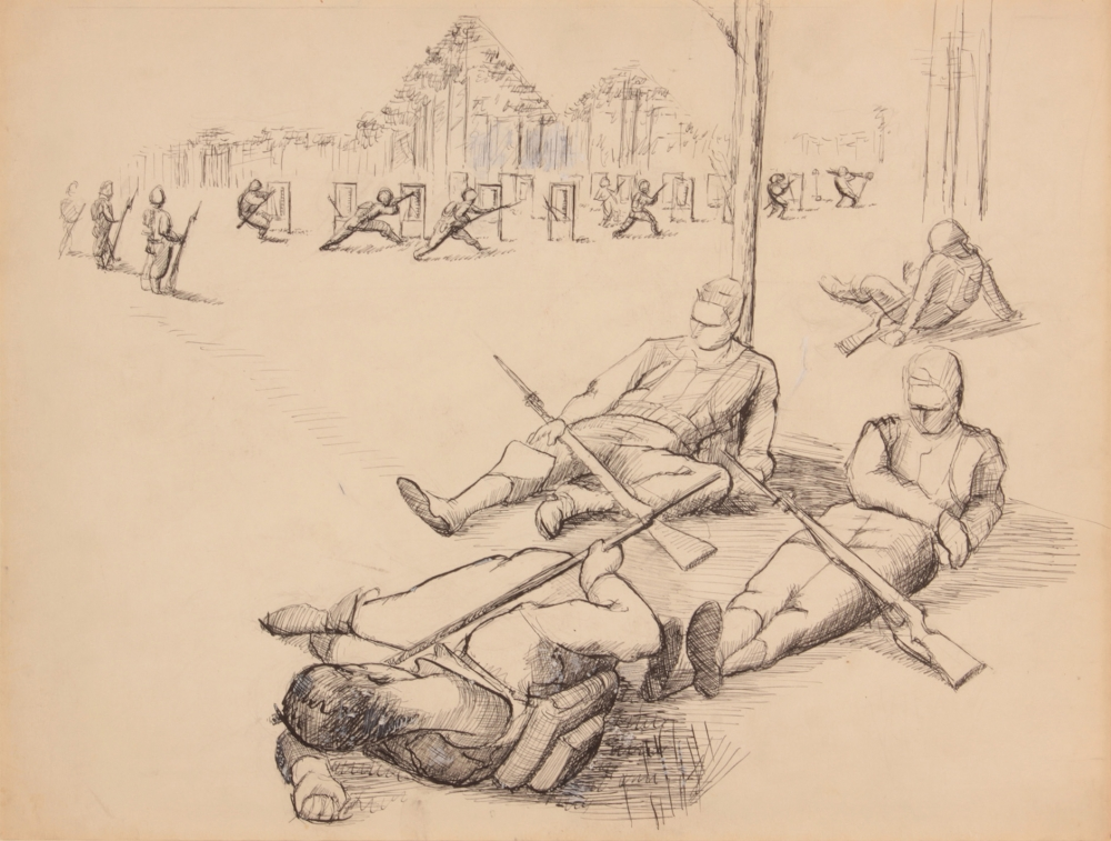 AT EASE WITH G.I. PEARLSTEIN: PHILIP PEARLSTEIN CAPTURES WORLD WAR II ON PAPER AT BETTY CUNINGHAM
