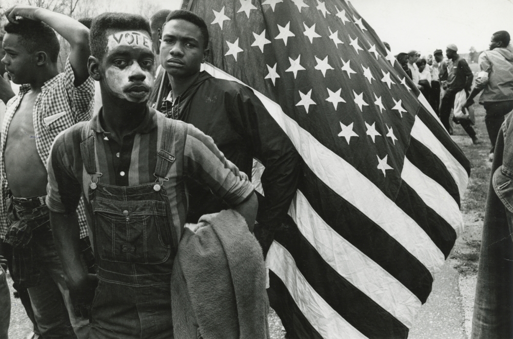 Bruce Davidson, Time of Change, Young Man with Vote on his head, Howard Greenberg gallery, 2019