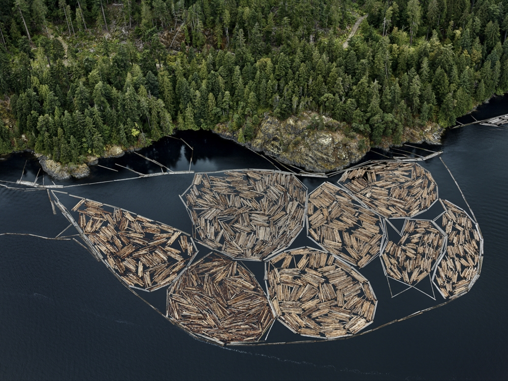 Edward Burtynsky, Log Booms #1, Vancouver Island, British Columbia, Canada, Howard Greenberg gallery, 2019