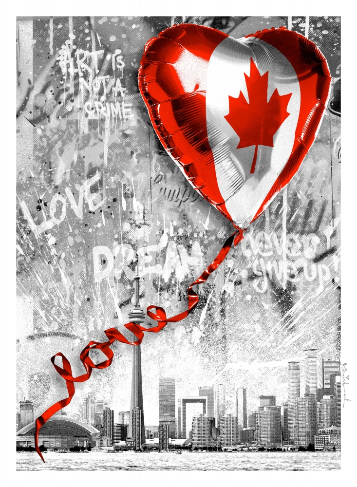 "Art for Relief | Taglialatella Galleries Toronto X Mr. Brainwash, "" We Love Canada"". Benefitting Street Haven Toronto"