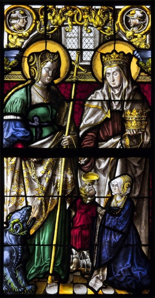 stained glass window 2 saints