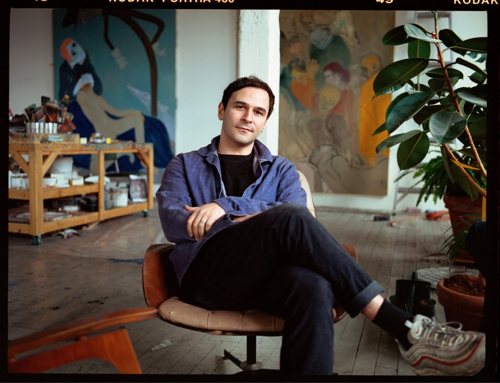Sanya Kantarovsky in his studio