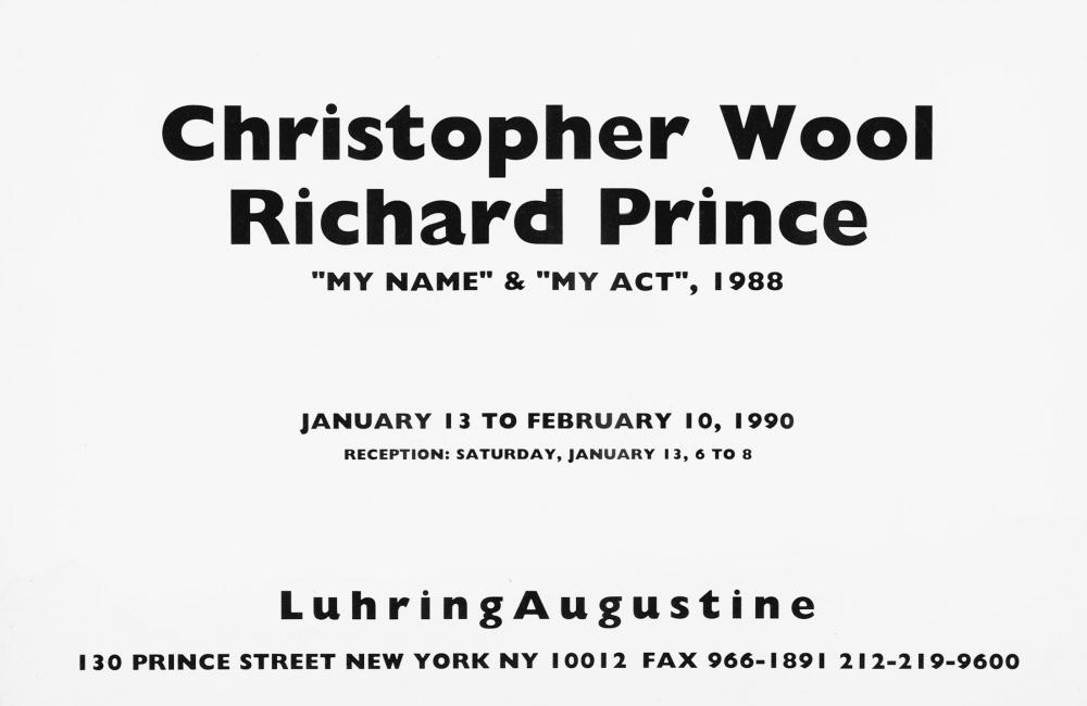 Christopher Wool, Richard Prince