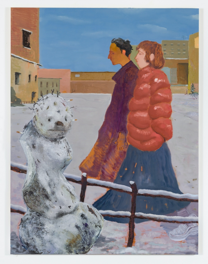 Painting of 2 people and snowman