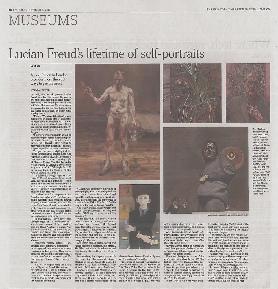 "Frah Nayeri, ""Lucian Freud's lifetime of self-portraits"""