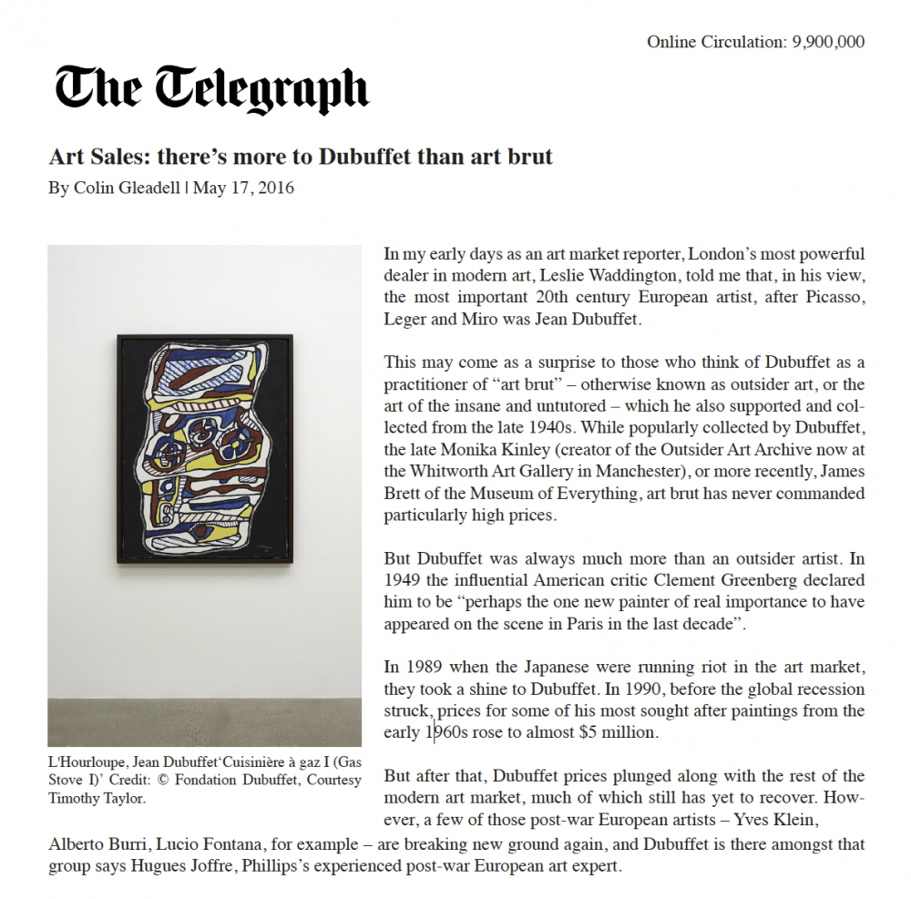 Telegraph, Dubuffet Article
