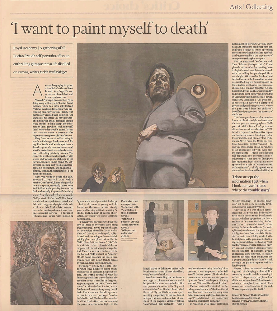 Jackie Wullschager, 'I want to paint myself to death', October 19, 2019