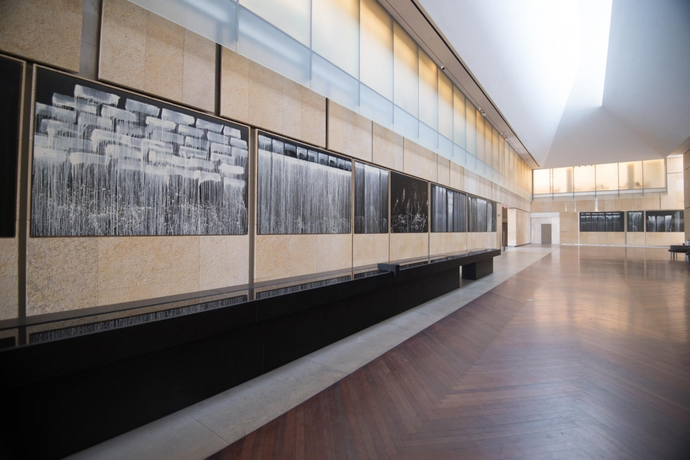 "Installation view of ""Pat Steir Silent Waterfalls: The Barnes Series,"" 2019, at the Barnes Foundation, Philadelphia."