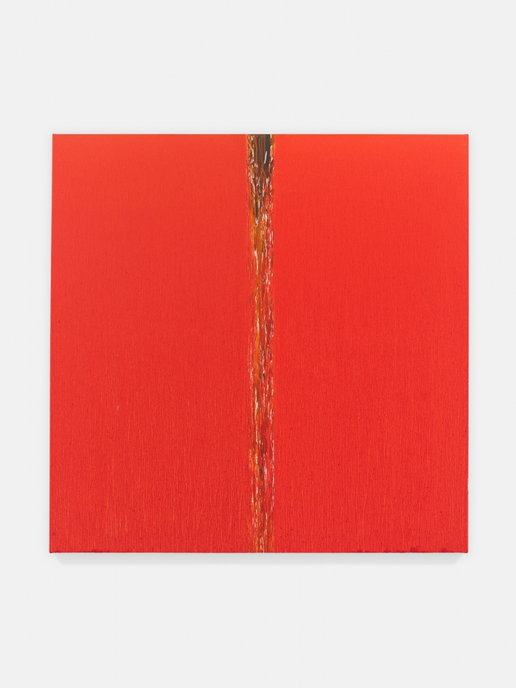 An oil painting by Pat Steir titled Orange One, 2018