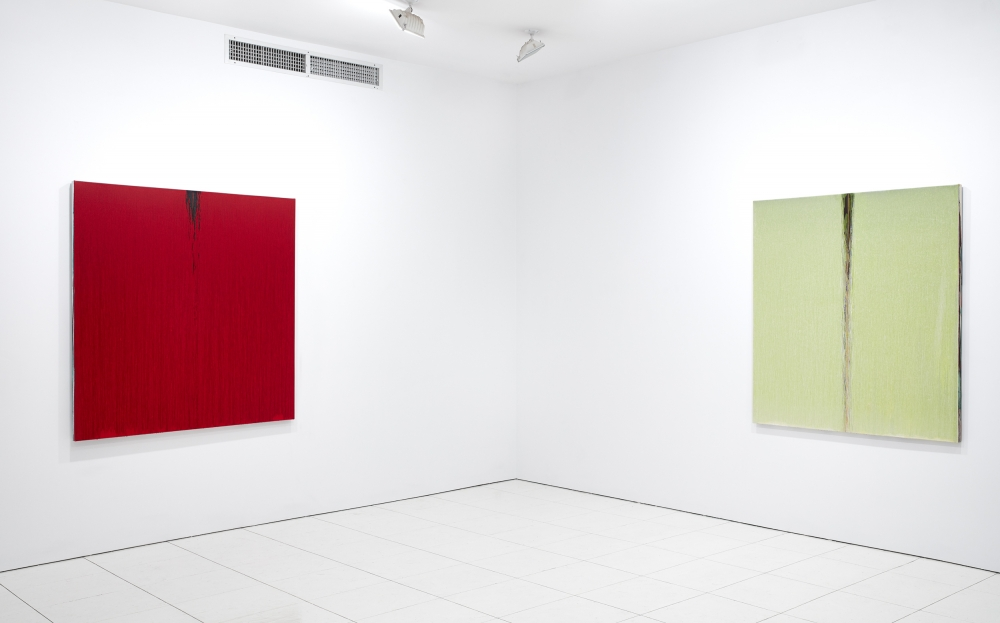 installation view of oil paintings by Pat Steir