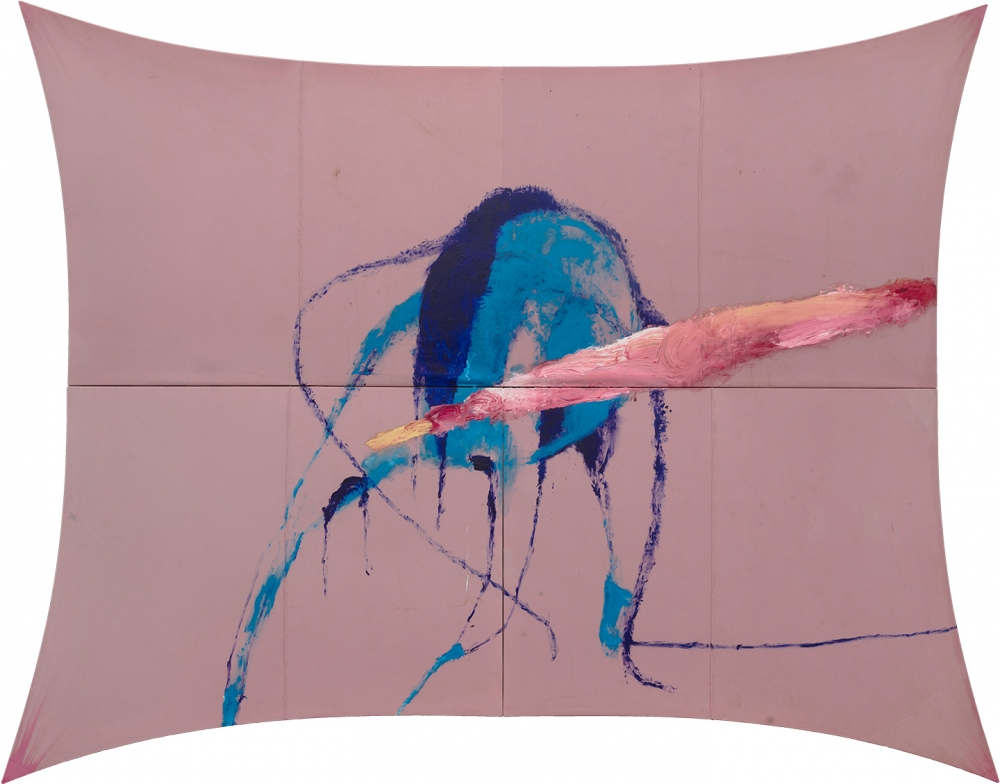 Oil painting on found fabric titled The Sad Lament of the Brave by Julian Schnabel