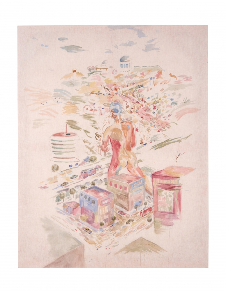 Watercolor on linen painting of an enlarged young nude man amid the busy Los Angeles surroundings by Gus Van Sant