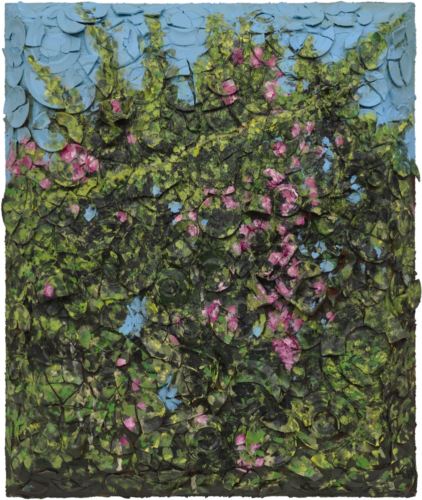 Plate painting of roses by Julian Schnabel