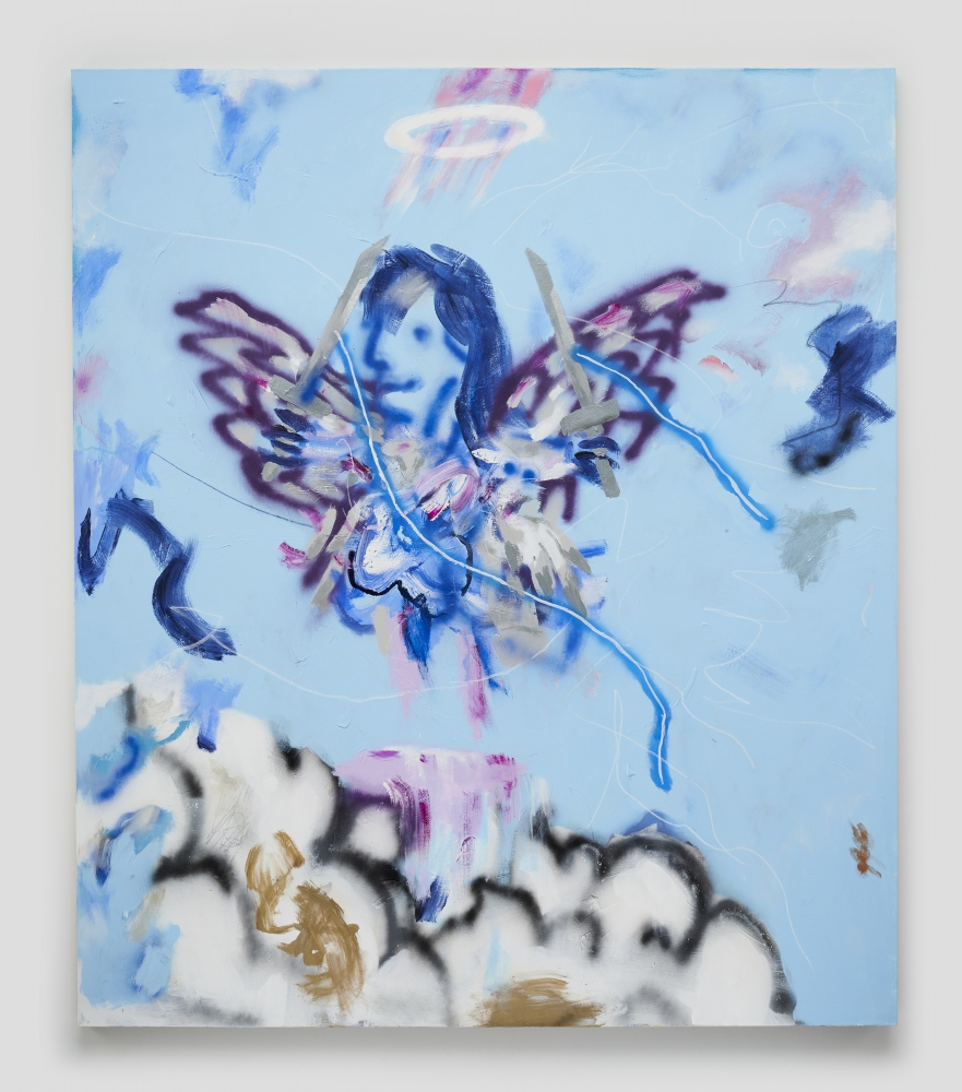 Acrylic and grease pencil on canvas painting titled  Cloud Rider Angel, 2020