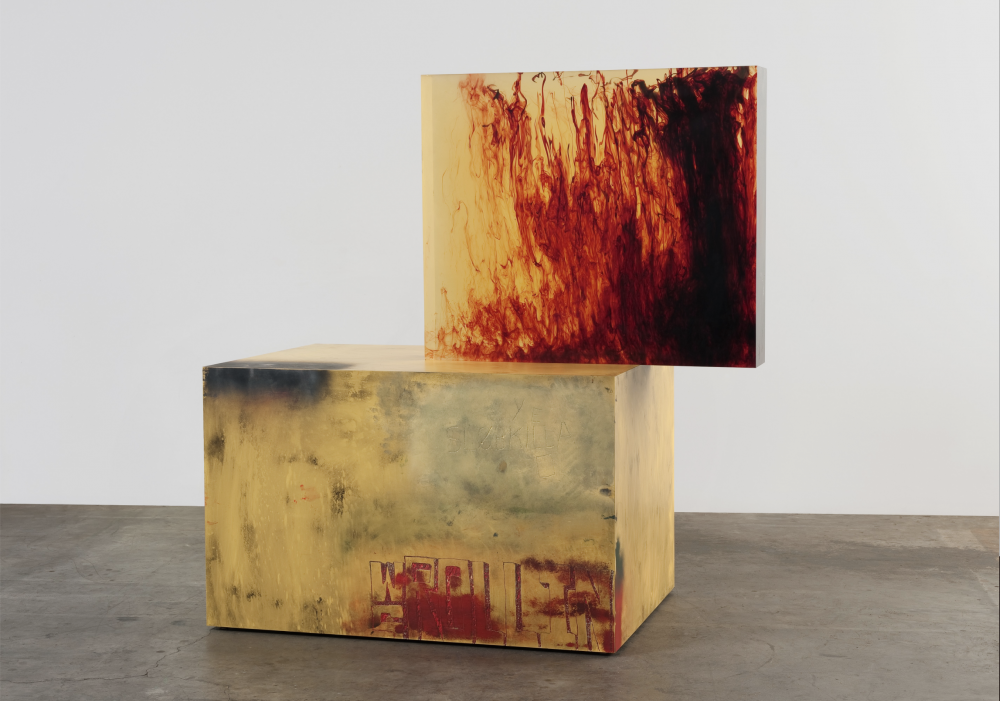 Sterling Ruby's Acts/WS Rollin (2011), clear urethane block, dye, wood, spray paint, and Formica.