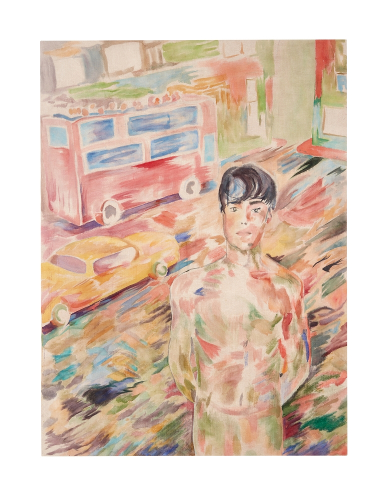 Watercolor on linen painting of a young man amongst the Los Angeles traffic by Gus Van Sant