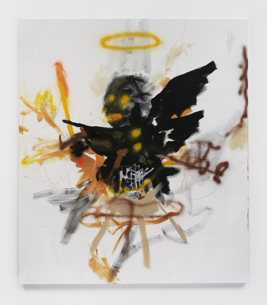 Acrylic and colored pencil on canvas painting by Robert Nava titled Saturn Angel