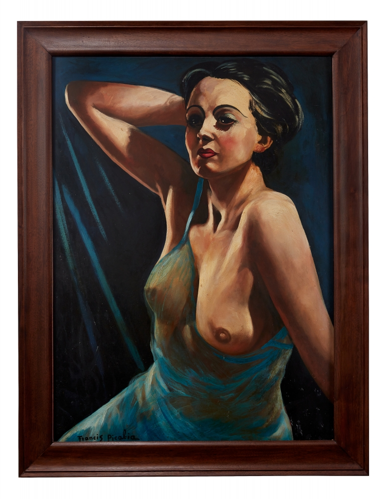 Oil on board painting by Francis Picabia titled Femme á la chemise bleue, 1942-1
