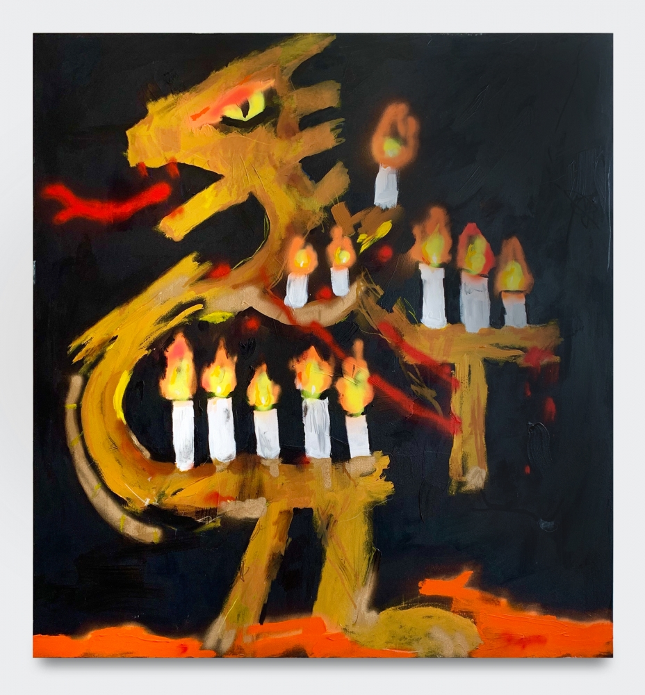 Acrylic and grease pencil painting of a golden dragon with 12 burning candles with a black background by Robert Nava